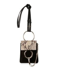 Chloe Black Python/Suede Faye Mini Crossbody Bag