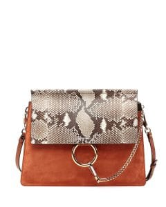 Chloe Brown Python/Leather/Suede Faye Bag
