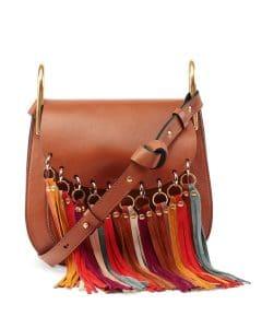 Chloe Caramel Fringe-Trim Hudson Bag