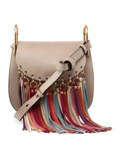 Chloe Gray Fringe-Trim Hudson Bag