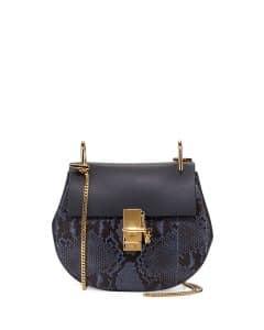 Chloe Navy/Black Python Drew Small Bag