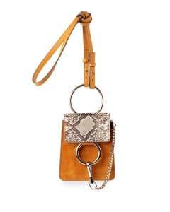 Chloe Yellow Python/Suede Faye Mini Crossbody Bag