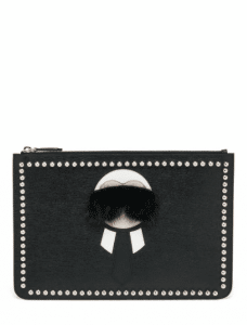 Fendi Black Karlito Flat Stud-Trim Large Pouch Bag