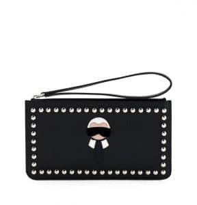 Fendi Black Karlito Flat Stud-Trim Pouch Bag
