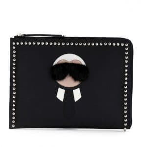 Fendi Black Karlito Large Zip-Around Pouch Bag