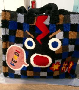 Fendi Black Multicolor Shearling Fendi Faces Tote Bag
