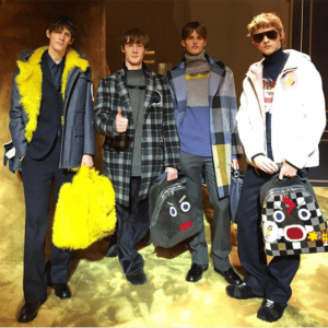 Fendi Black and Multicolor Shearling Fendi Faces Backpack Bags