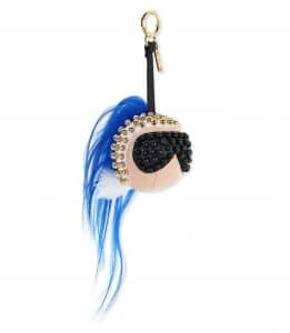 Fendi Black/White/Blue Karlito Studded Bag Charm