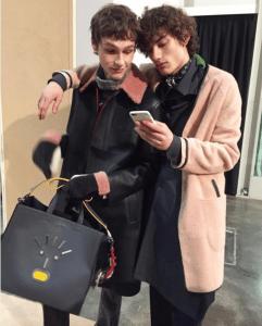 Fendi Grey Fendi Faces Leather Tote Bag