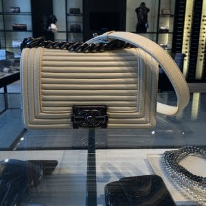 Chanel White Horizontal Quilted Small Boy Flap Bag 1