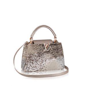 Louis Vuitton Beige Sequins Capucines BB Bag
