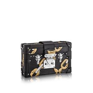 Louis Vuitton Black Chain Flower Epi Petite Malle Bag