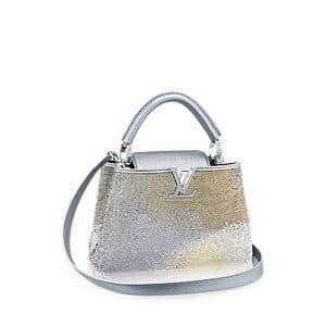Louis Vuitton Bleu Clair Sequins Capucines BB Bag