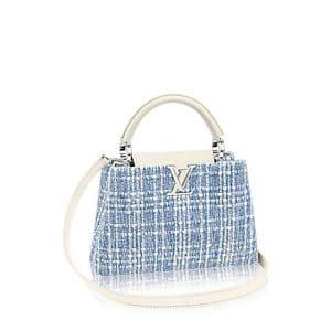 Louis Vuitton Bleu Clair Tweed Capucines BB Bag