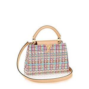 Louis Vuitton Fluorescent Pink Tweed Capucines BB Bag