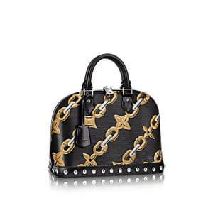 Louis Vuitton Noir Chain Flower Epi Alma PM Bag