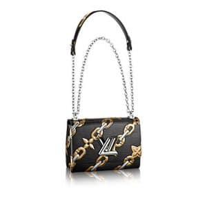 Louis Vuitton Noir Chain Flower Epi Twist MM Bag