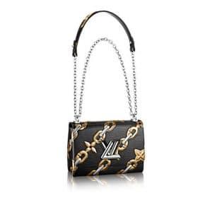 Louis Vuitton Noir Chain Flower Epi Twist MM Bag