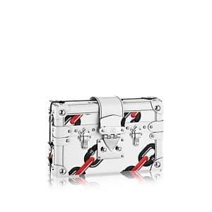 Louis Vuitton White Chain Flower Epi Petite Malle Bag