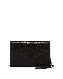 Saint Laurent Black Croc Embossed Chain Wallet Bag