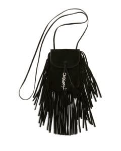 Saint Laurent Black Fringe Anita Flat Mini Bag