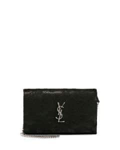 Saint Laurent Black Monogram Guipure Lace Chain Wallet Bag
