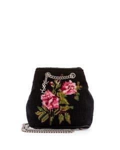 Saint Laurent Black with Rose Pattern Woven Emmanuelle Baby Bucket Bag