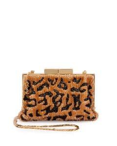 Saint Laurent Gold Bijoux Beaded Leopard-Print Clutch Bag