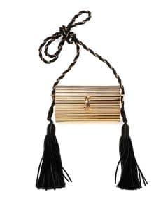 Saint Laurent Gold Opium Plexiglass Tassel Minaudiere Bag