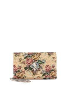 Saint Laurent Multicolor Monogram Floral Jacquard Chain Wallet Bag