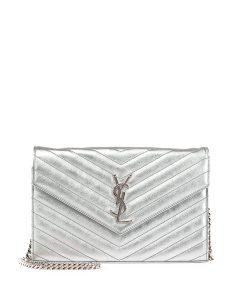 Saint Laurent Platinum Monogram Matelasse Chain Wallet Bag