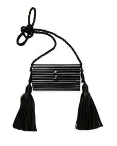 Saint Laurent Shiny Black Opium Plexiglass Tassel Minaudiere Bag