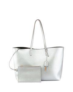 Saint Laurent Silver Large Shopping Tote Bag