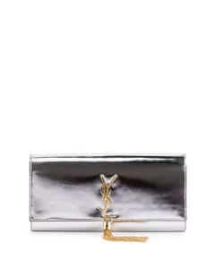 Saint Laurent Silver Metallic Monogram Tassel Clutch Bag