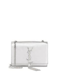 Saint Laurent Silver Monogram Flap Small Crossbody Bag