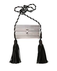 Saint Laurent Silver Opium Plexiglass Tassel Minaudiere Bag