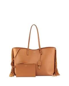 Saint Laurent Tan Fringe Large Shopping Tote Bag