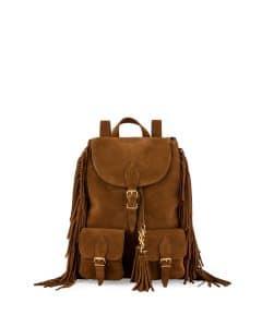 Saint Laurent Tan Suede Fringe Festival Backpack Bag