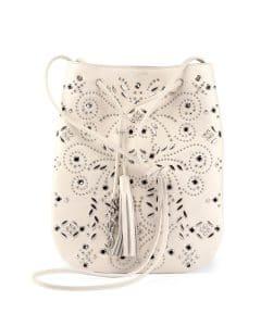 Saint Laurent White Bandana Stud Jen Small Bucket Bag