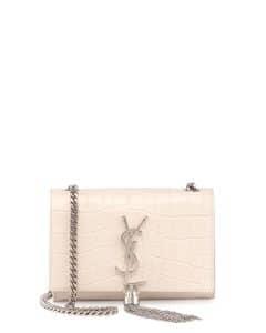 Saint Laurent White Croc Stamped Monogram Small Shoulder Bag