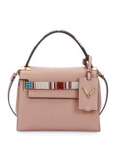 Valentino Beige Beaded My Rockstud Top Handle Small Bag