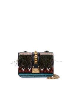 Valentino Black Beaded African Lock Flap Mini Bag