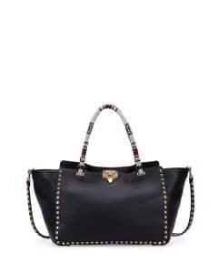 Valentino Black Beaded-Handle Rockstud Tote Medium Bag