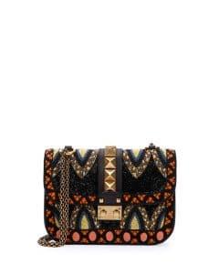 Valentino Black Beaded Lock Flap Small Bag