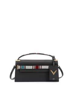 Valentino Black Beaded Strap My Rockstud Clutch Bag
