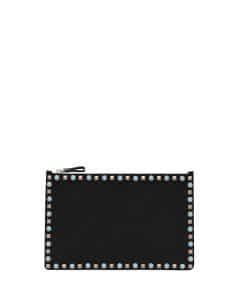 Valentino Black Rolling Rockstud Cabochon Leather Clutch Bag