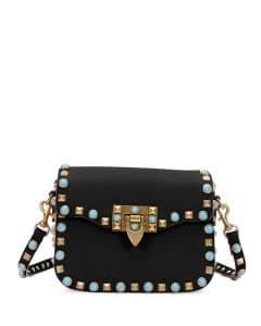 Valentino Black Studded Rockstud Messenger Bag
