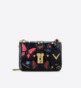 Valentino Black/Multicolor Butterfly:Stars B-Rockstud Flap Bag