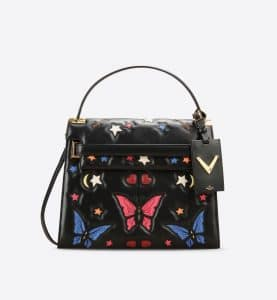 Valentino Black/Multicolor Butterfly:Stars My Rockstud Top Handle Bag