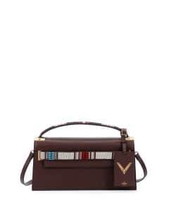Valentino Brown Beaded Strap My Rockstud Clutch Bag